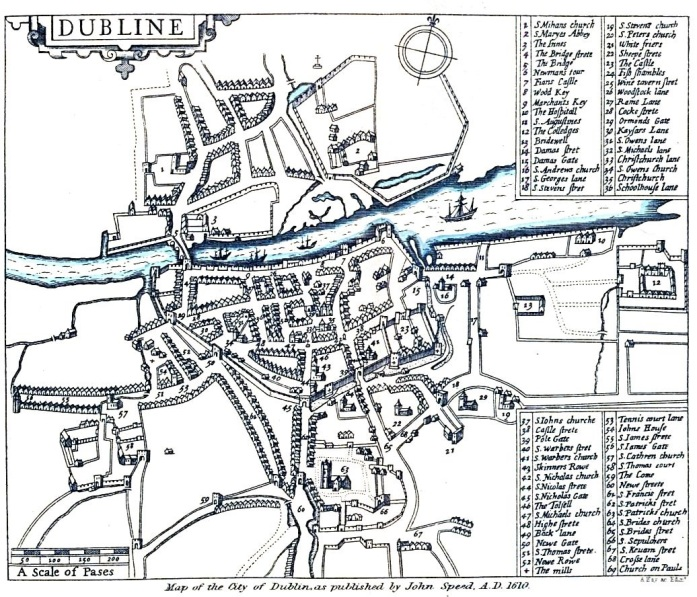 Speed's Map of Dublin, 1610 - the walls and gates are shown.  Note: the recently founded Trinity College is outside of the walls, to the east of the city on reclaimed ground.