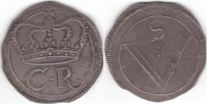 Superb Ormonde Crown.  S.6544.  29.56g.  Obv.  Crown above C and R, for Charles Rex, a fine line circle around, and a toothed outer border. Cross and top corners of crown and  curled tail of R break circle. Diamond shaped pellet surrounded by 4 tiny pellets, above, below, and to sides, all between C and R.  C with protruding top seraph but no bottom seraph.  Rev.  Large V, for 5 shillings, within line border, well clear of line circle at bottom and touching upper left and barely clear upper right, surrounded by plain field and outer toothed border.  Tiny diamond shaped central pellet within V.  Snakelike S with seraphs that only protrude outward, curled backward at bottom and forward at the top, a petite round pellet below, all well clear and below the line circle.  C, R, and V show no re-cutting, making this perhaps the first use of the die.  Superbly struck on a cut fairly regular round sterling plate flan, still showing much detail of the original silver plate