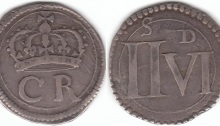 Ormonde Halfcrown. S.6545. Obv. Crown above C and R, a line circle around, and a somewhat crude blunt toothed outer border. Only cross of crown touches the inner line circle. Only the tail of the trailing R crosses the circle. A faint triangular pellet divides the C and R. The C has a near Roman top seraph, and no bottom seraph. Rev. Huge bold II, height 15.0mm, and shorter VI, height 11.3mm. All four corners of the IIVI cut across the inner line circle of 25.5mm diameter. Minute central pellet before V. An almost snakelike S with almost parallel Roman seraphs is centered above the II, and almost bisected by the line circle with bottom of top seraph of S just touching the outside of the inner circle. Well formed D, height 3.6mm, with a longer top seraph than bottom seraph, is above right side of V and closer to circle than to the V. Struck on an unusually round sterling plate flan, still showing part of original silver detail on obverse