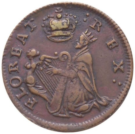 Undated St. Patrick's Farthing. Copper. Nothing under king. Choice Extremely Fine. 91.1 gns. FLOREAT :REX: obverse. QVIESCAT PLEBS. reverse. A very attractive piece, with deep rich mahogany coloring that is usually not seen on these. Brass splash present, faded but very well centered. Obverse slightly off center to upper left; reverse slightly off to top. Some light marks, the top of the obverse and reverse a bit rough and seemingly dented