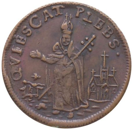 Undated St. Patrick's copper Farthing. QVIESCAT PLEBS. reverse.