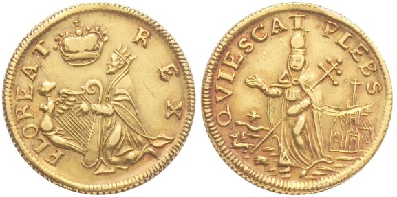 Undated St. Patrick's Farthing. Gold. About Uncirculated, or thereabouts. 184.9 gns. No nimbus. FLOREAT REX obverse. QVIESCAT PLEBS reverse. This is the only example recorded - a unique coin.