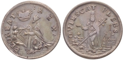Undated St. Patrick's Farthing. Silver. Nice Choice Extremely Fine. 98.1 gns. No nimbus. FLOREAT REX obverse. QVIESCAT PLEBS reverse