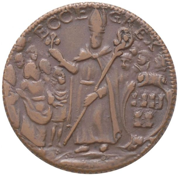 Undated St. Patrick's Halfpenny. Small Letters ECCE GREX reverse