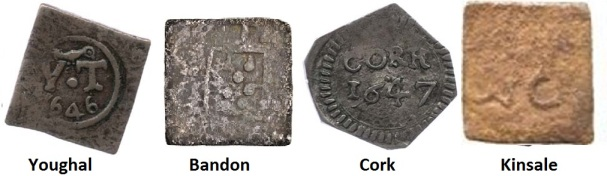 The emergency coinages of Youghal, Bandon, Cork and Kinsale were much cruder than those of Dublin - they struck farthings, halfpennies and twopences in copper, a threepence in pewter and sixpences in silver. Some large denomination coins of the realm were counter-struck with