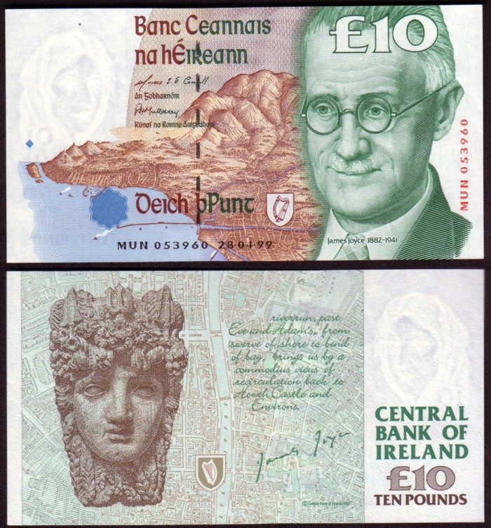 1999 C Series £10 Banknote – featuring James Augustine Aloysius Joyce (1882–1941). The Old Currency Exchange, Dublin, Ireland.
