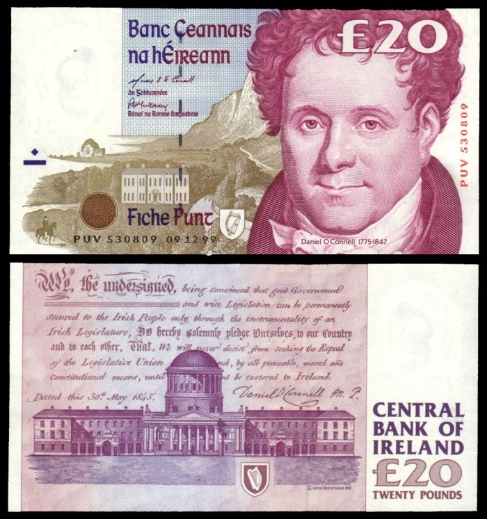 1999 C Series £20 Banknote, featuring Daniel O'Connell. The Old Currency Exchange, Dublin, Ireland.