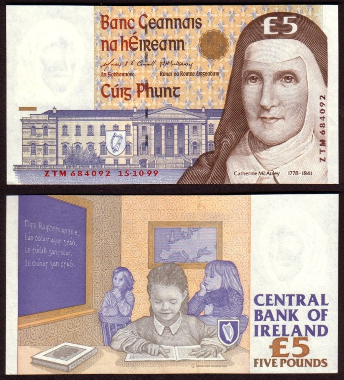 1999 C Series £5 Banknote, featuring Mother Catherine Elizabeth McAuley (1778–1841) was an Irish nun, who founded the Sisters of Mercy ten years before her death, in 1831. The Old Currency Exchange, Dublin, Ireland.