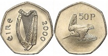 The coin used the woodcock design from the pre-decimal farthing coin, designed by Percy Metcalfe and first introduced by the Irish Free State in 1928.