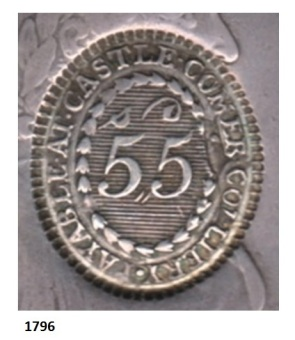 Castlecomer Token, Type 1 die stamp on a 1796 donor coin (cusped edges)
