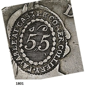 Castlecomer Token, Type 2 die stamp on an 1801 donor coin (serrated edges)