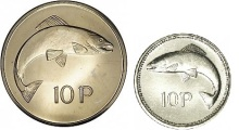 Two different designs of the coin exist, both featuring a salmon on the reverse. The second was introduced in 1993 and is smaller, due to the reduction of the coin's value by inflation.
