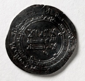 A coin minted in 921 or 922 for Nasr II ben Ahmad, an Arabic ruler (913-43), found in a hacksilver hoard buried at Storr Rock in Skye, Scotland