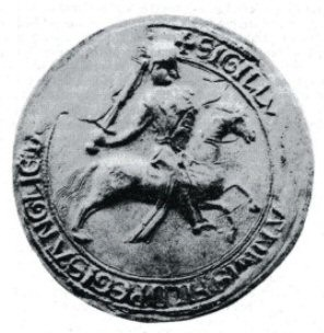 Between March 1185 and as late as October 1199, John, the youngest son of Henry II used an equestrian seal (fig. 1) of about three inches in diameter on which he is represented as a fully armed knight, galloping to the right, and carrying a convex shield charged with two lions passant. He wears a hauberk of mail under a cloth surcoat, and a coif surmounted by a round-topped nasal helmet which interrupts the legend between the words, HIB'NIE and + SIGILLVM. In his right hand he brandishes a sword. The horse wears an ornamental breast-band, saddle and stirrups; it is not caparisoned. The legend reads, + SIGILLVM IOHANNIS FILII REGIS ANGLIE DOMINIE HIB'NIE