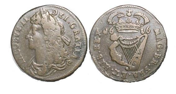 1686 James II regal halfpenny for Ireland (Knox halfpenny)