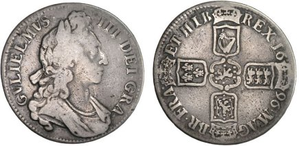 1696 silver crown of William III