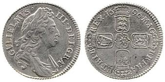 1696 silver shilling of William III, first bust