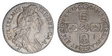 1696 silver sixpence of William III, York mint (J), first bust, large crowns, first harp