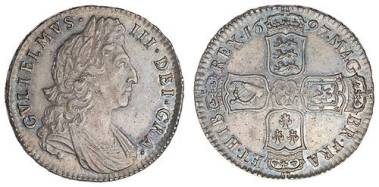 1697 silver halfcrown of William III