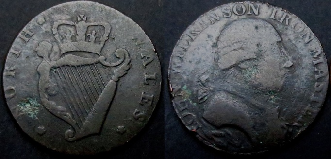 An example of an Irish evasion halfpenny token - so long as the piece looked reasonably similar to the real coins, the public were likely to accept them – and given that over 60% of the halfpennies in circulation were fakes – this wasn't difficult. The public accepted them for a variety of reasons.