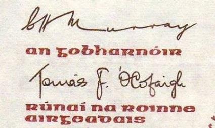 1978-81 B Series £5, Type 3,  signatures C. H. Murray & Tomás F. Ó Cofaigh