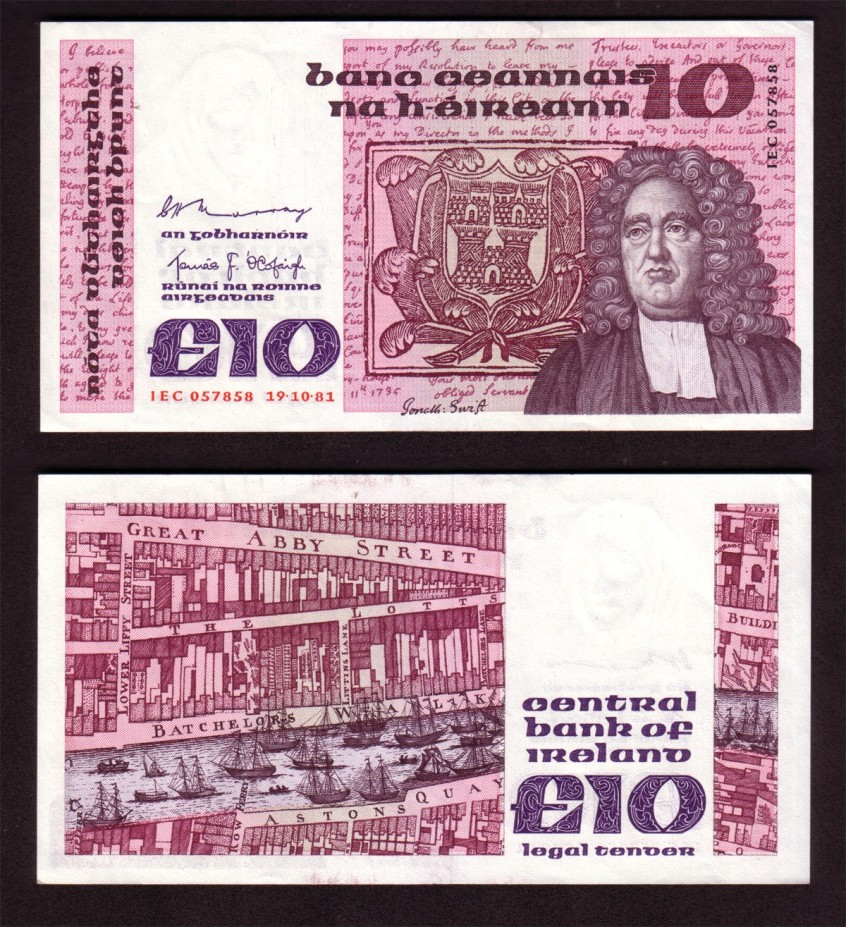 1981 B Series £10 Banknote - Jonathaan swith, the controversial Dean of St Patrick's Cathedral in the 18th C.