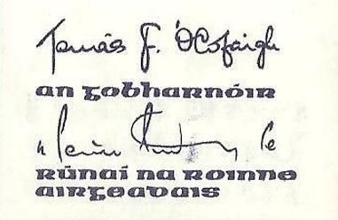 1982-87 B Series £10, Type 2,  signatures Tomás F. Ó Cofaigh & Maurice Doyle