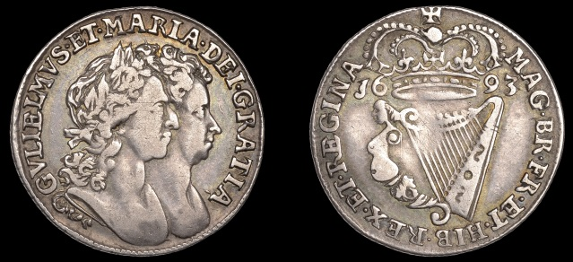 Proof Halfpenny, 1693, in silver, edge grained, exceptionally rare; the only known example found to date