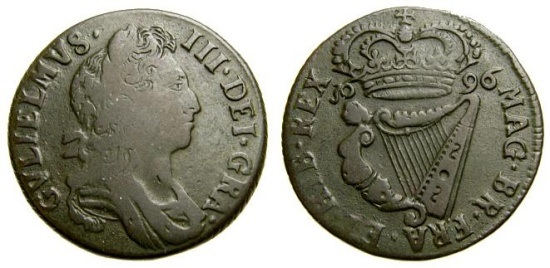1696 William III Type 1, Halfpenny, Variety A - Reverse: MAG BR FRA ET HIB REX