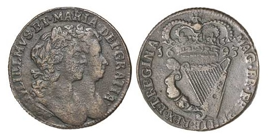 William & Mary, halfpenny, 1693 (S6597). Condition = Fine, with some pitting evident.