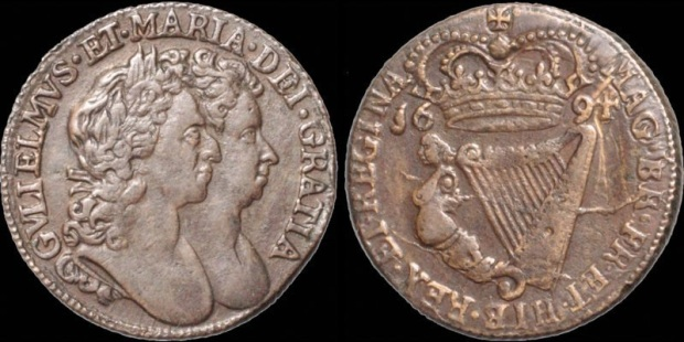 William & Mary, halfpenny, 1694 - S 6597 D&F 497