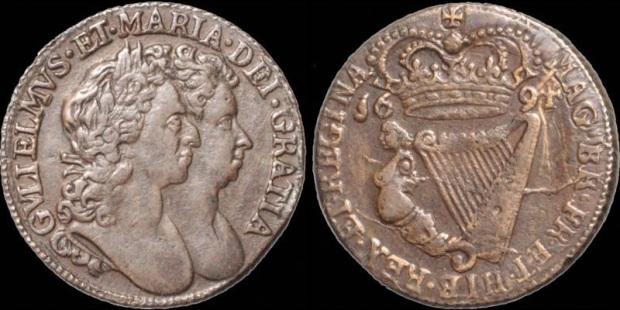 William & Mary, halfpenny, 1694 - S 6597 D&F 497