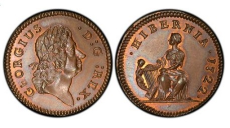 1722 Wood's Hibernia Farthing, Type I (regular issue)