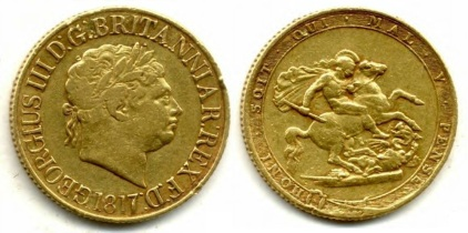 The reverse design had an ennobled Garter surrounding the image of St George armed, sitting on horse back encountering the Dragon with a spear. The legend translates as 'evil to him who evil thinks' . The obverse featured George III facing right with short hair with a laurel crown of a Roman emperor with the legend in taller than usual lettering.