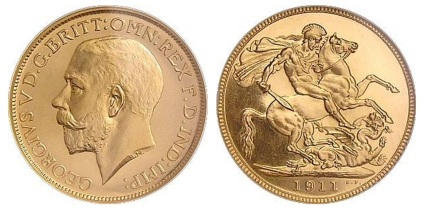 The George V 'large head' gold sovereign circulated from 1911 to 1928 (inclusive).