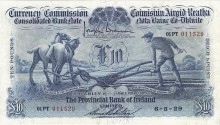 1929 £10 Consolidated Banks - Provincial Bank of Ireland (front) Unc