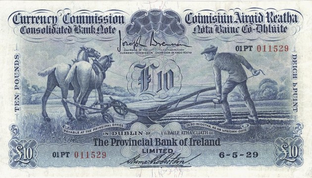 1929 £10 Ploughman (Provincial Bank of Ireland, Type 1), signed by Hume Robertson