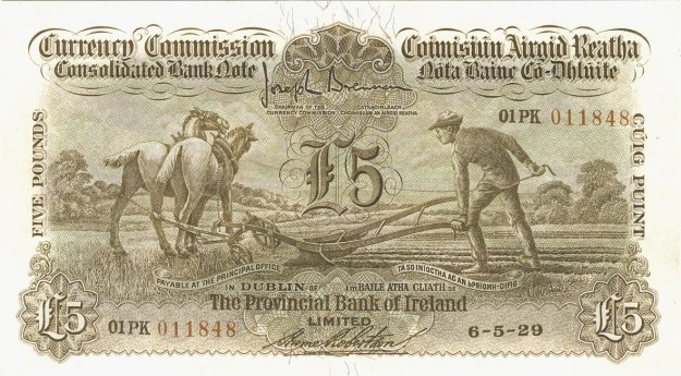 1929 £5 Ploughman (Provincial Bank of Ireland, Type 1), signed by Hume Robertson