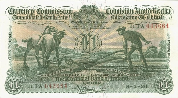 1936 £1 Ploughman (Provincial Bank of Ireland, Type 2), signed by F. S. Forde