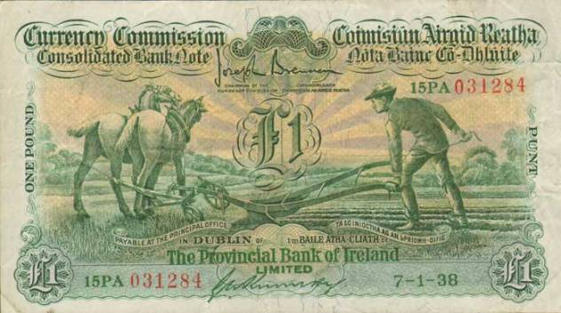1938 £1 Ploughman (Provincial Bank of Ireland, Type 3), signed by G. A. Kennedy
