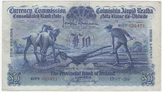 1939 £10 Ploughman (Provincial Bank of Ireland, Type 3), signed by G. A. Kennedy