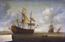 Arrival of the English Flagship Royal Charles, painting by Jeronymus van Diest II from the Rijksmuseum Amsterdam (note the Dutch flag at the rear and English flag flying upside down from the main mast)