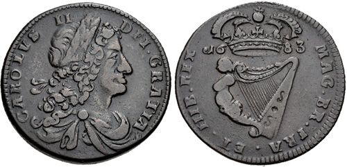 Charles II (1660-1685), Armstrong and Legge's Regal Coinage, Copper Halfpenny, 1683, Small Letters