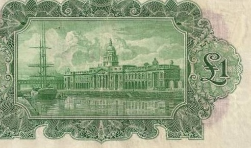 £1 'ploughman' note (reverse design - detail, showing the Custom House & River Liffey, Dublin)