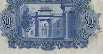 £10 'ploughman' note (reverse design - showing Currency Commission Building, Dublin)