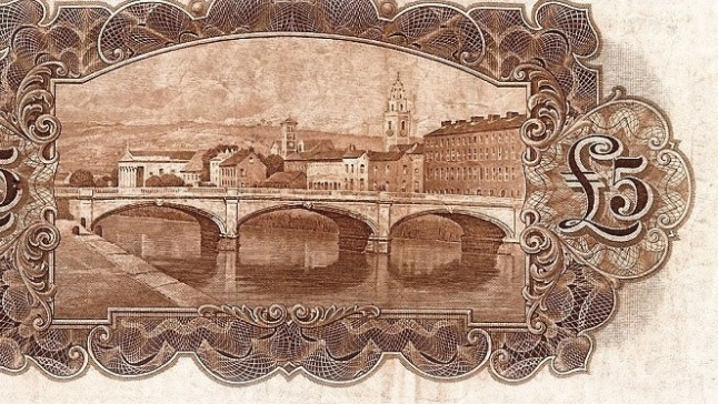 £5 'ploughman' note (reverse design - detail, showing St Patrick's Bridge, Cork)