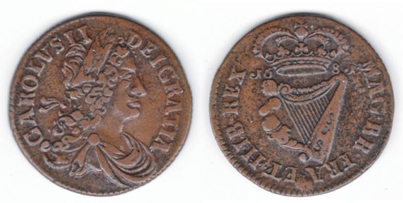 Charles II Halfpenny 1681 Halfpenny of 12 Strings, S.6574 medium lettering