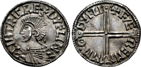 Hiberno-Norse Sihtric III AR Penny 3h Phase I coinage, Long Cross type Dublin mint Faeremin, moneyer Struck c1000-1010