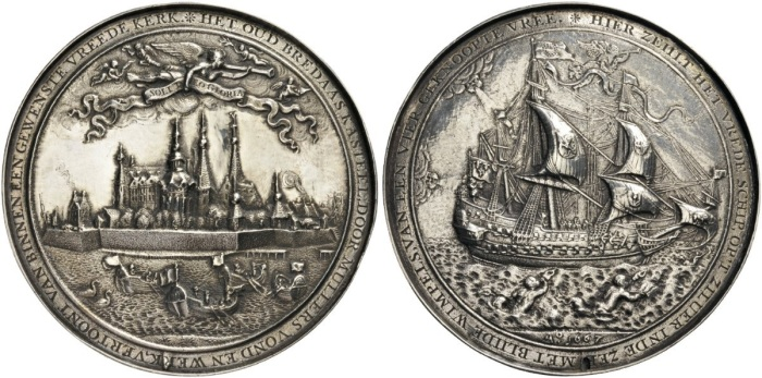 NETHERLANDS, The Dutch Republic. Breda. Plaquettepenning, or Hollow medal (Silver, 82mm, 77.46 g 12), on the Peace of Breda between Great Britain and the Dutch Republic, by Wouter Muller, 1667. HET OUD BREDAAS KASTEEL, DOOR MULLERS VOND EN WERK, VERTOONT VAN BINNEN EEN GEWENSTE VREEDE KERK (=Old Breda's castle, by the ingenuity and art of Muller, exhibits within it a wished-for Temple of Peace) View of the city of Breda, with angels flying above, one carrying a banner inscribed SOLI DEO GLORIA. Rev. HIER ZEIHLT HET VREDESCHIP, OP 'T ZILUER IN DE ZEE MET BLIIDE WIMPELS, VAN EEN VIER GEKNOOPTE VREE (=Here sails the ship of Peace in silver on the sea, and bears the happy pennants of a quadruple peace) Ship sailing to right, bearing the arms of France, the United Provences, England and Ireland, and Denmark; below, A°1667. MI, I, pp. 531-532, 180. PiN 263. Van Loon II, pp. 538-539, v. An attractive and impressive piece. Usual blow hole on the edge, obverse fields polished, some polishing and minor casting fault on the reverse, otherwise, about extremely fine.
