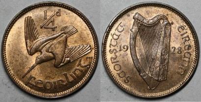 1928 Irish farthing